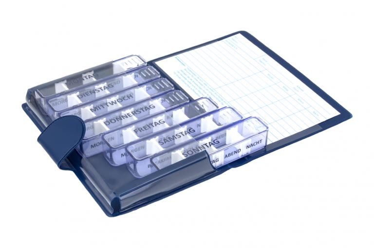 Medidos-DE-No1-Classic-Saphire-Open-pill-dispenser-Kibodan-danish-design