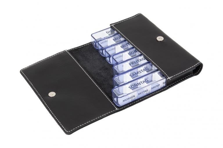 Medidos-DE-No1-Leather-Black-Finished-Open-pill-dispenser-Kibodan-danish-design