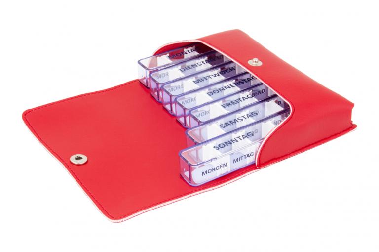 Medidos-DE-No1-Leatherette-Red-Open-pill-dispenser-Kibodan-danish-design