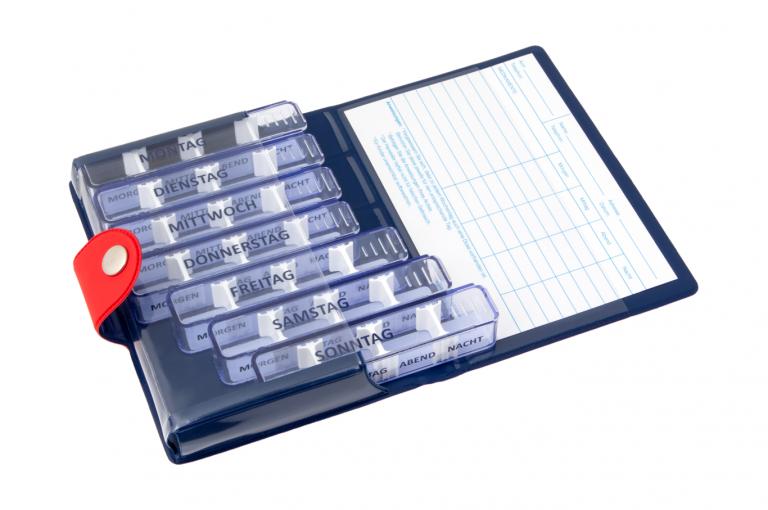 Medidos-DE-No1-Soft-Touch-Cherry-DarkBlue-Open-pill-dispenser-Kibodan-danish-design-A-X1
