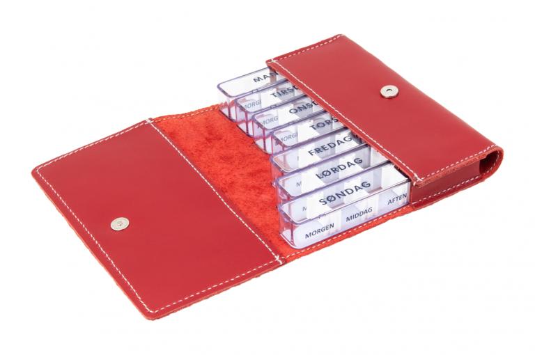 Medidos-DK-No1-Leather-Red-Finished-Open-pill-dispenser-Kibodan-danish-design