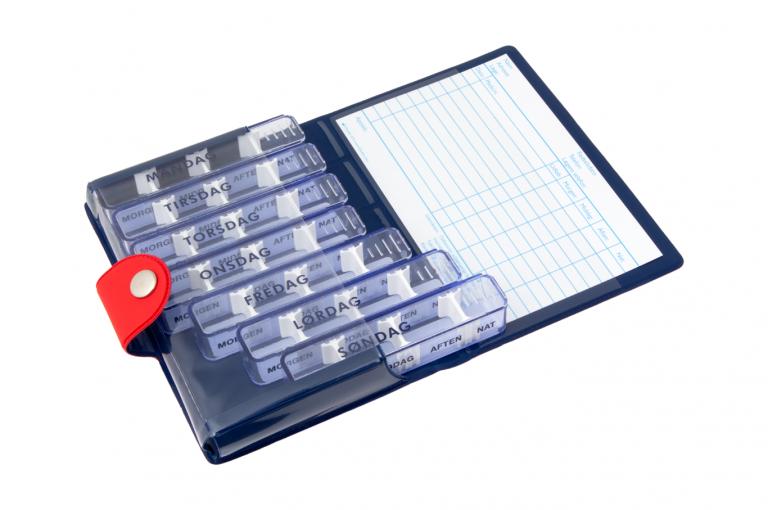 Medidos-DK-No1-Soft-Touch-Cherry-DarkBlue-Open-pill-dispenser-Kibodan-danish-design-A-X1