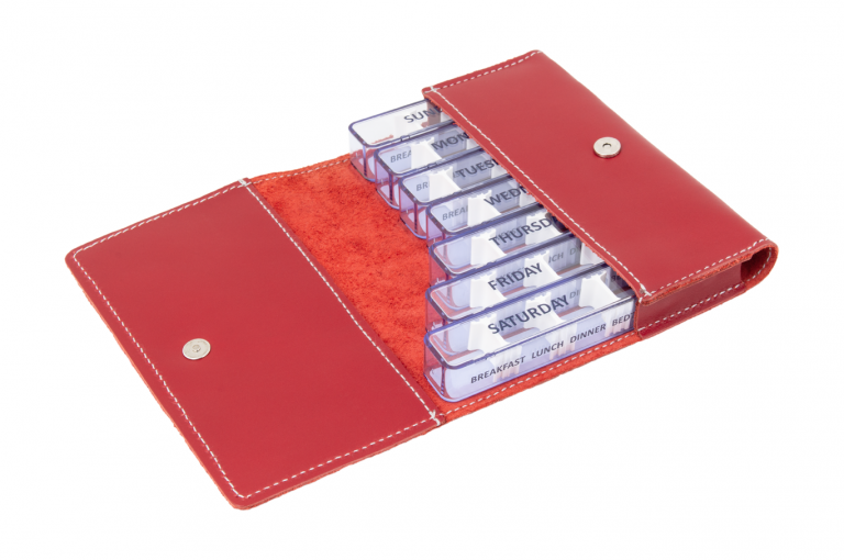 Medidose-GB-No1-Leather-Red-Finished-Open-pill-dispenser-Kibodan-danish-design