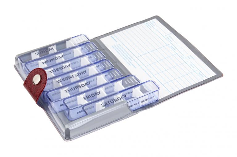 Medidose-GB-No1-Wild-Dark-Red-Open-pill-dispenser-Kibodan-danish-design